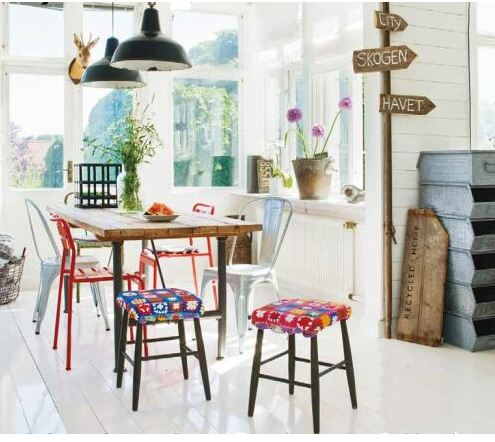 Scandinavian style white country bohemian kitchen industrial dining