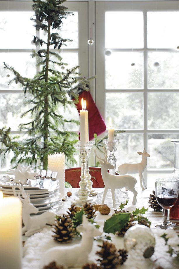 style christmas inspiration decoration tree white table setting